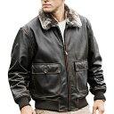 【送料無料!】全6サイズ! [Men's Removable Fur Collar Brown Cowhide Leather Pilot Jacket] メンズ リムーバブルフ…