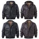 【送料無料!】全4タイプ! [Men's Sheepskin Hood/Collar Genuine Leather Bomber Jacket] メンズ シープスキン フード/カラー ジェニュインレ