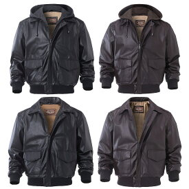 【送料無料!】全4タイプ! [Men's Sheepskin Hood/Collar Genuine Leather Bomber Jacket] メンズ シープスキン フード/カラー ジェニュインレザー ボンバージャケット! 本革 羊革 ライダース フライトジャケット パーカー コート アウター 重ね着風 バイクに!