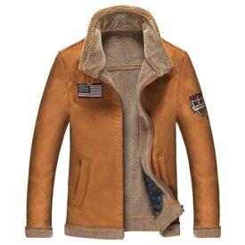 【送料無料!】全2色! 6サイズ! [Men's Fur Liner Patches Leather Flight Jacket] メンズ ファーライナー ワッペン レザー フライトジャケット! 本革 ライダース スエード コート アビエーター ブラウン ブルー 裏地ボア 刺繍 アウター バイクに!