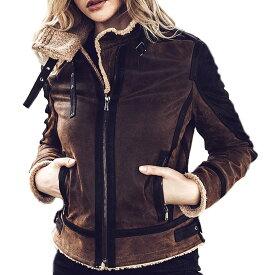 【送料無料!】全7サイズ! [Women's Aviator Pigskin Genuine Leather Riders Jacket] ウィメンズ アビエーター ピッグスキン ジェニュインレザー ライダースジャケット! レディース 女性用 本革 豚革 革ジャン ブラウン ボア フライト コート アウター バイクに!