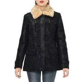 【送料無料!】全7サイズ! [Women's Detachable Fur Collar Pigskin Genuine Leather Black Long Jacket] レディース デタッチャブル ファーカラー ピッグスキンレザー ブラック ロングジャケット! ウィメンズ 女性用 本革 豚革 ロング丈 バイクに!