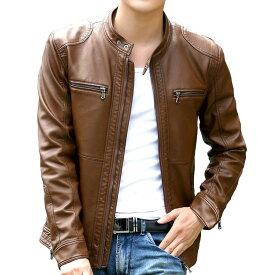 【送料無料!】日本未発売! [Motorcycle Genuine Sheepskin Leather Jacket] モーターサイクル・ジェニュイン・シープスキン・レザー・ジャケット! 全4色! 羊革 メンズ アウター ブルゾン ジャンパー コート シングルライダースジャケット 大きいサイズ バイクに!