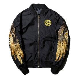 【送料無料!】 日本未発売! [Embroidery Gold Eagle Wings Bomber Jacket] ゴールド・イーグル・ウィングス・ボンバージャケット! 全3色! メンズ アウター ブルゾン ジャンパー 翼 刺繍 大きいサイズ ブラック レッド カーキ アメカジ バイクに MA-1 バイカー!