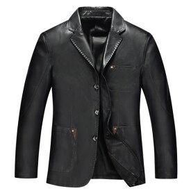 【送料無料!】日本未発売! [Genuine Sheepskin Leather Blazer] ジェニュイン・シープスキン・レザー・ブレザー! 全3色! 羊革 本革 メンズ アウター コート 上着 ライダースジャケット ブラック ブラウンレッド カーキ スーツ バイクに!