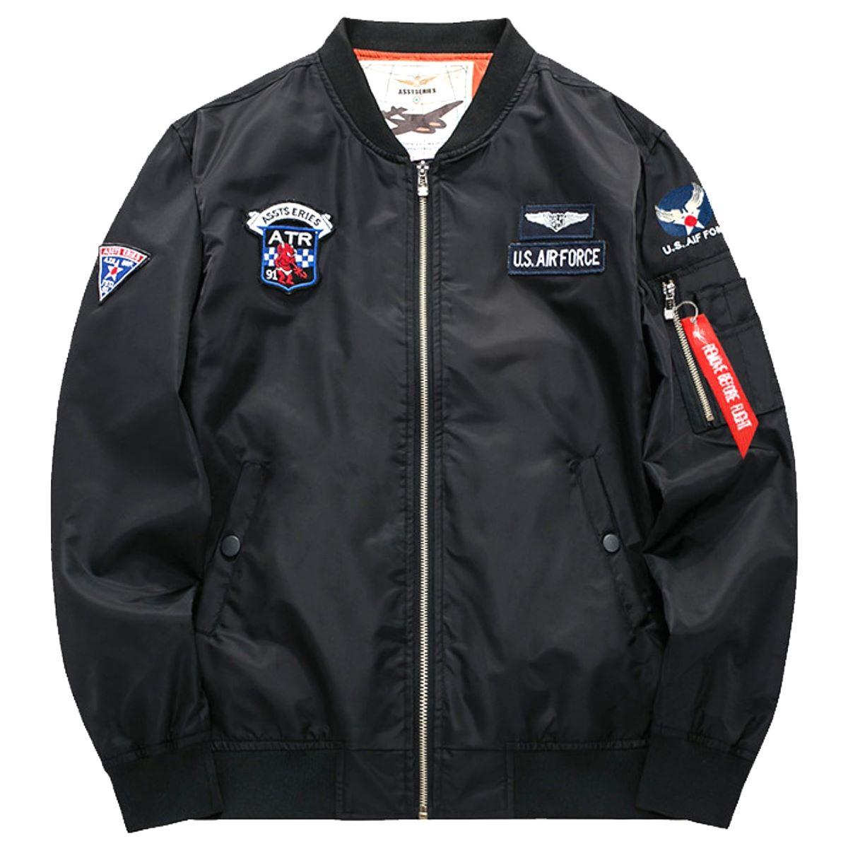 【送料無料!】日本未発売! [Aviator Motorcycle Down Military Bomber Jacket] アビエイター・モーターサイクル・ダウン・ミリタリー・ボンバージャケット! 全3色! メンズ アウター ブルゾン ジャンパー ブラック カーキ ブルー バイクに! MA-1 ワッペン 大きいサイズ