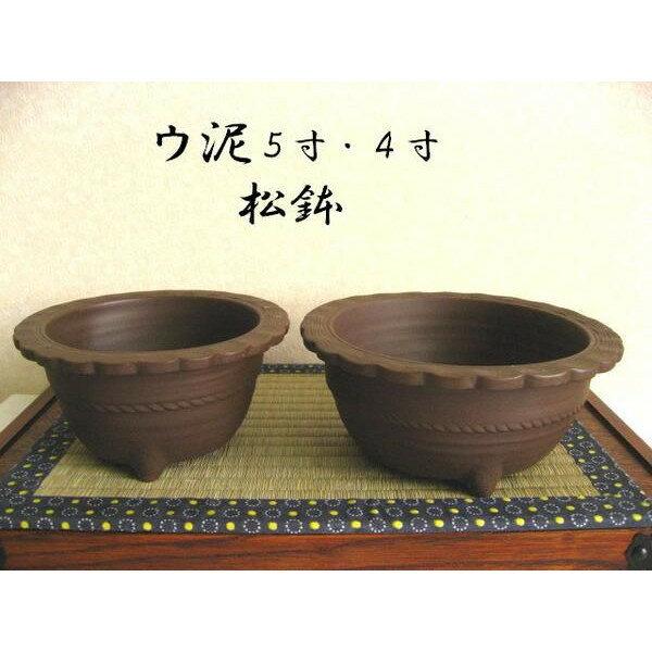 萬古焼 松鉢 ウ泥5号4号セット 盆栽鉢 ミニ盆栽 植木鉢
