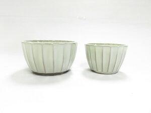 瀬戸焼 菊型小鉢 クリーム4号3号セット 盆栽鉢 ミニ盆栽 A04-17