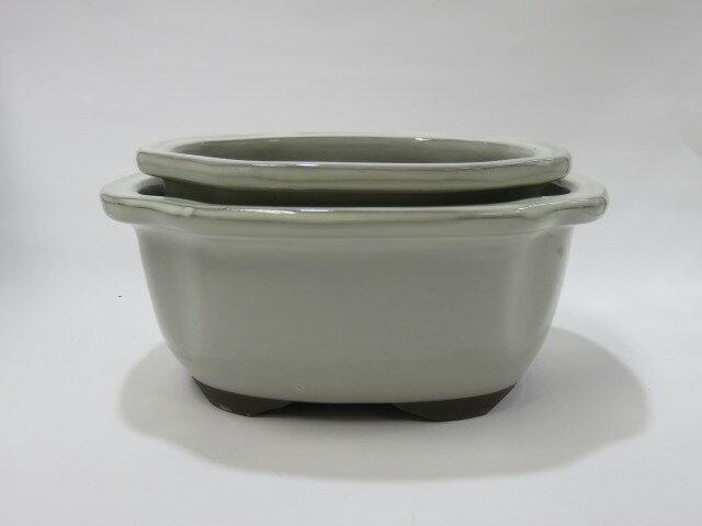 瀬戸焼 モッコ鉢 クリーム6号5号セット 山野草,盆栽など和風の植物にぴったりです。