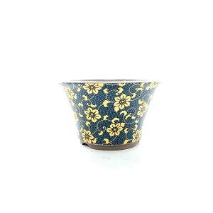 九谷焼 丸反型鉢 青粒鉄仙4号 盆栽鉢 鉢マニアオリジナル