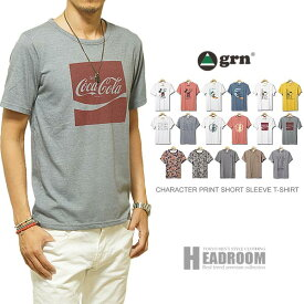 Tシャツ メンズ grn 17デザイン プリント 半袖 Tシャツ ジーアールエヌ ディズニー コカコーラ スヌーピー ロードランナー ルーニーチューン disney