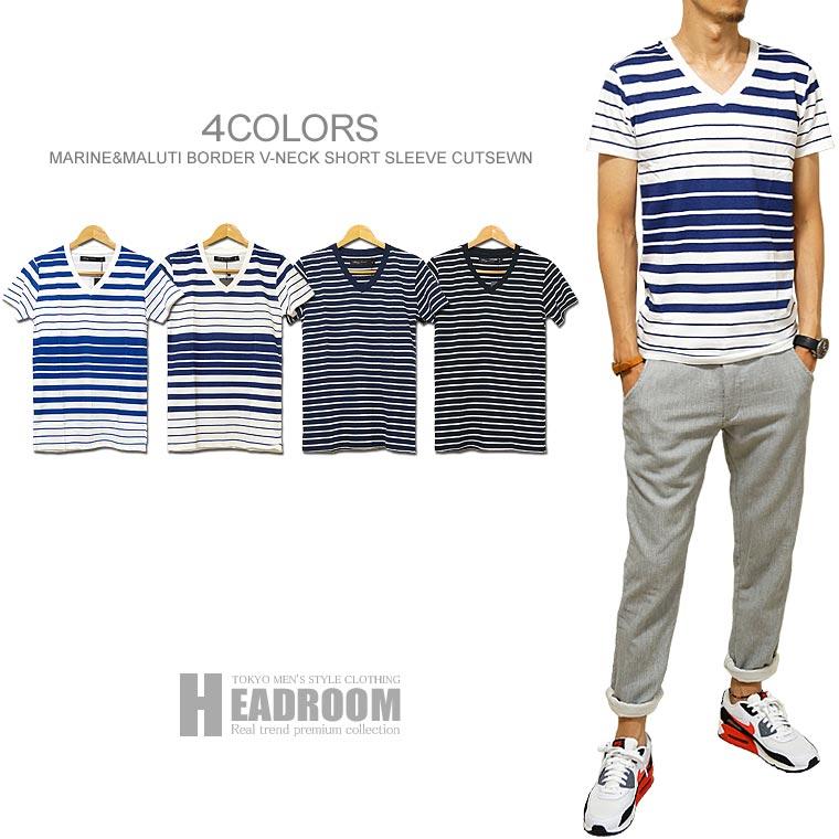 Tシャツ 半袖 メンズ マルチボーダー コットン100% Vネック Tシャツ マリンボーダー クレイジーボーダー カットソー 綿100% コンサバ