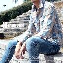 カジュアルシャツ メンズ デニム ブリーチ加工 インディゴ染め コットン100% 長袖 チェック シャツ 2017 秋冬 新作