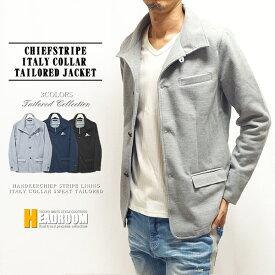 テーラードジャケット メンズ チーフ ストライプ ストレッチ スウェット イタリアンカラー 綿