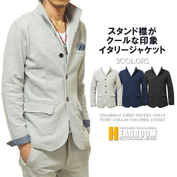 ジャケット メンズ チーフ シャンブレー イタリアンカラー コットン100% スウェット テーラードジャケット