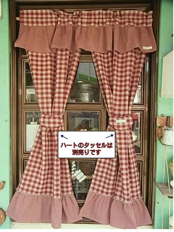 【のれん】定番カントリーチェック♪120cm丈のれん(エンジ)*アメリカンカントリー 暖簾