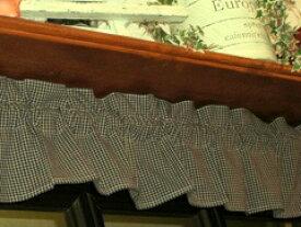 カントリーチェック*ミニミニカフェカーテン(紺)*飾り用15cm丈*アメリカンカントリー