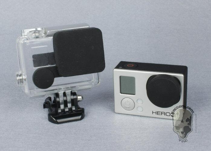 【最安値に挑戦!3月29日8時59分まで】TMC GoPro HERO3+専用 シリコン製 レンズ&スイッチキャップ BK ブラック