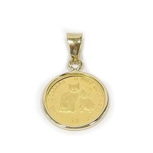 純金K24ミーチョ&ミーチャキャットコイン1/30オンス(4$)金貨 ペンダントトップ裏面エリザベス女王英国王室造幣局(ロイヤルミント)製造【ギフトラッピング済み】【送料無料】【レディ