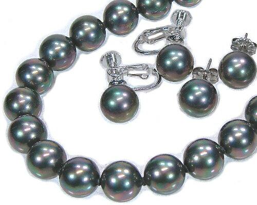 黒真珠ネックレスイヤリング(ピアス)セット黒蝶貝パール10.0ミリ/9.0ミリ42〜45センチサイズビュ【送料無料】【レディース,通販】