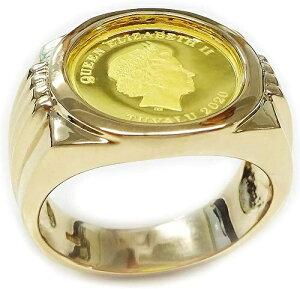 純金ゴールド コインリング ツバルホース 24金1/25oz 3dollars GOLD999.9 2020年メンズ 指輪 #20号サイズ【レディース,激安,特価,通販】