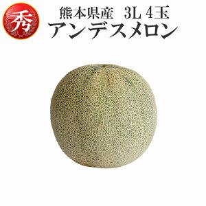 【産地直送】熊本県産 アンデスメロン 秀品 3L 4玉