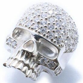 【RG-N073】SILVER 925スカル(髑髏) クリスタルシルバーリング【指輪】/ドクロ/骸骨/ガイコツ/メンズ/レディース/【あす楽】
