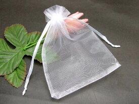 オーガンジーポーチ 白 100枚セット 12.5×9.8cm Mサイズ 巾着袋 ジュエリーポーチ アクセサリー入れ 保管用 収納 小物入れ 送料無料 天然石 パワーストーン用