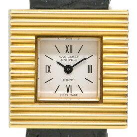 本物 ヴァンクリーフ & アーペル Van Cleef & Arpels スクエア 腕時計 QZ クォーツ 電池式 イエローゴールド ステンレス ホワイト文字盤 レディース 時計 ウォッチ 中古