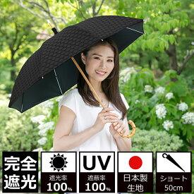 日傘 完全遮光 100% UVカット100% uv クラシコ 完全遮光100% 日本製生地 ラミネート サークルレース 綿100% 日焼け防止 紫外線対策 グッズ 傘 レディース ショート 50cm バンブー オフホワイト ベージュ ネイビー ブラック 母の日 プレゼント lace