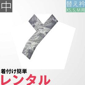 【レンタル】〔替え衿 レンタル〕グレー・シルバー ペイズリー 半衿 中サイズ〔着物 XS/S/Mサイズ用〕(着物レンタルセットの変更オプションです)