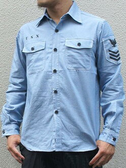 American army NAVY chambray shirt long-sleeved blue (with stencil) military men man