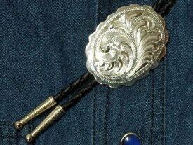 German Silver Engraved Bolo Tie アメリカンループタイ/ウエスタンボロタイ【レターパックライト可】