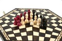 木と手作りの温もり三人用木製チェスセット:Troika(トロイカ)ルール説明書付ポーランド製数量限定販売【楽ギフ_包装】