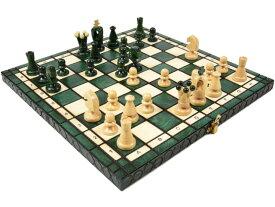 ポーランド製 木製カラーチェスセットchess set Charis(カリス)グリーン35cm×35cm 木製 駒 盤 数量限定販売【楽ギフ_包装】