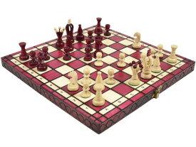 ポーランド製 木製カラーチェスセットchess set:Charis(カリス)ワインレッド35cm×35cm 木製 駒 盤 数量限定販売【楽ギフ_包装】】