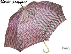 槙田商店 レディース長傘 おしゃれなノルディックジャガード8本骨雨傘 Twig/枝(ピンク) 甲州織 北欧デザイン 日本製 女