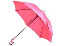 おしゃれな細巻スタイルのラタン調ハンドル8本骨レディース長傘(ピンク)親骨55cm雨傘かさ工房ワカオ日本製傘TokyoMadeWAKAO婦人女