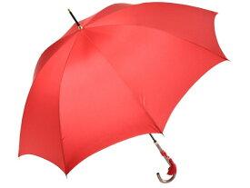 おしゃれな細巻スタイルのラタン調ハンドル 8本骨 レディース長傘(レッド) 親骨55cm 雨傘 かさ工房ワカオ 日本製傘 Tokyo Made WAKAO 婦人 女