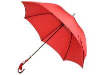 おしゃれな細巻スタイルのラタン調ハンドル8本骨レディース長傘(レッド)親骨55cm雨傘かさ工房ワカオ日本製傘TokyoMadeWAKAO婦人女