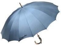 おしゃれで丈夫な無地16本骨雨傘(ブルーグレー)/前原光栄商店製紳士用
