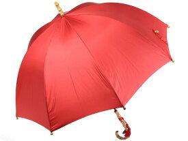 深張りフォルムのバンブーハンドル 8本骨 レディース長傘 レッド 親骨60cm おしゃれ かさ工房ワカオ 寒竹 手元 日本製傘 雨傘 Tokyo Made WAKAO 婦人 女