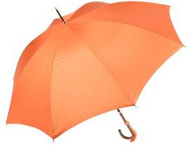 おしゃれな細巻スタイルのラタン調ハンドル 8本骨 レディース長傘(オレンジ) 親骨55cm 雨傘 かさ工房ワカオ 日本製傘 Tokyo Made WAKAO 婦人 女