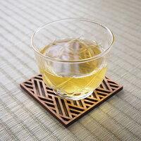 日本文様コースター木製麻の葉菱青海波サクラ