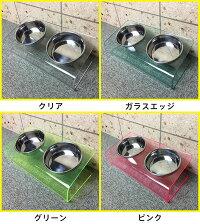猫食器台アクリルステンレスフードボウルウォーターボウル付きダブル傾斜