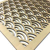 ウォールデコ組子調和風アートパネル木製青海波