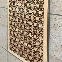 ウォールデコ組子調和風アートパネル木製麻の葉(60X30センチ)