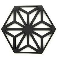 木製レリーフ麻の葉ブラック5枚組