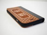 木製iPhone6/iPhone6plusケース手帳型/和柄