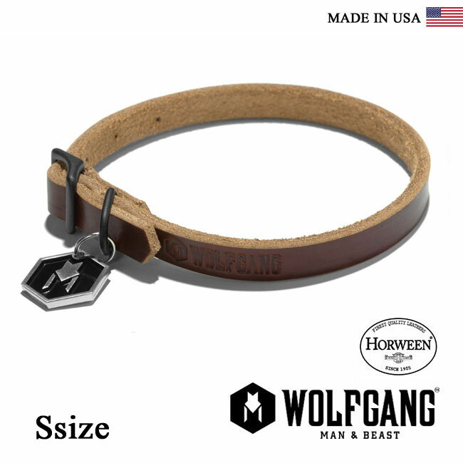 首輪 犬 犬首輪 WOLFGANG MAN & BEAST ウルフギャング HORWEEN COLLAR 【Ssize/小型犬用】HC00022 レザーカラー [MADE IN USA] 首輪 くびわ 20P